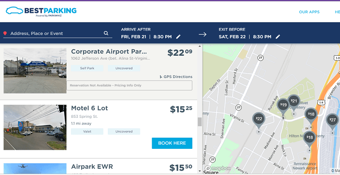 Find best parking place around Airport or Anywhere