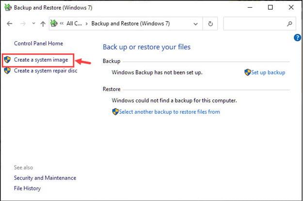 Create System Image Windows 10 Classic