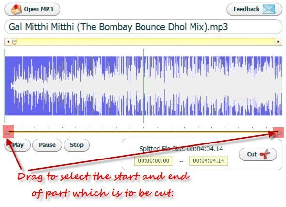 Cut Mp3 files online with Cut Mp3 Online