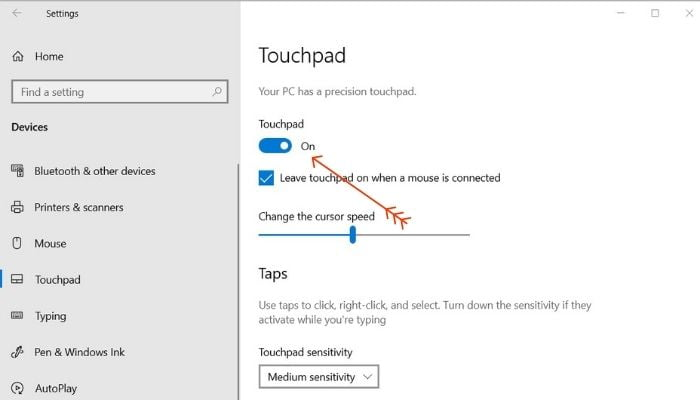 Enable Touchpad from Settings