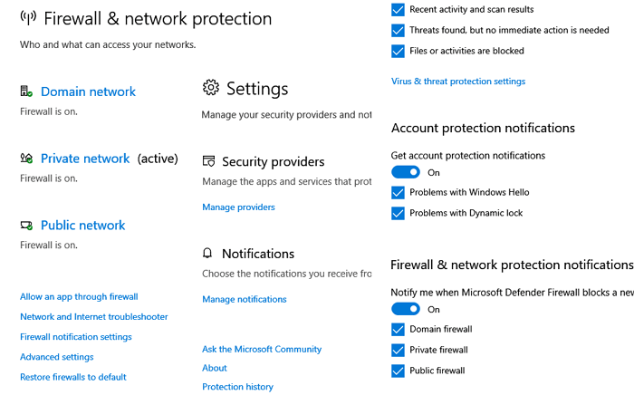 Firewall notifcation Windows 10