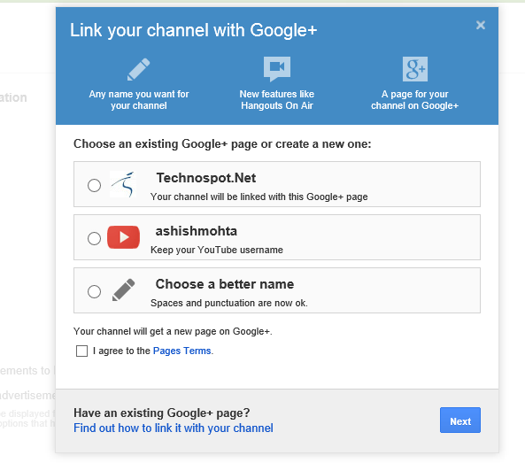 Google Plus Page Link to YouTube
