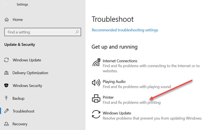 Printer Troubleshooter Windows