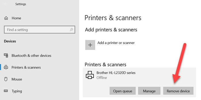Remove Printer Windows 10