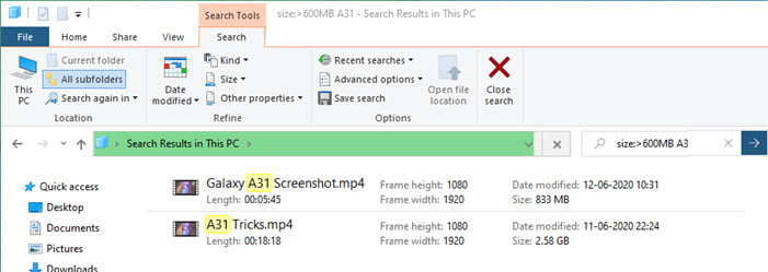 How to use operators in Windows 10 Search
