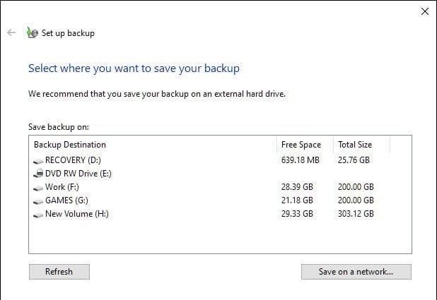 Select Drive Windows 10 Backup