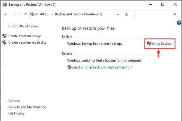 Setup Classic Backup Windows