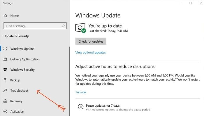 Update Windows to Fix Touchpad