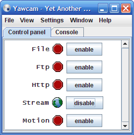 YawCam Webcam Settings