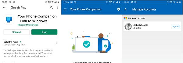 YourPhone Android Windows 10 App