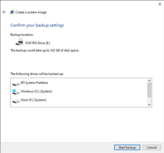 create system backup confirm settings