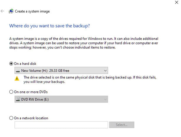 create system image windows 10 Select Drive