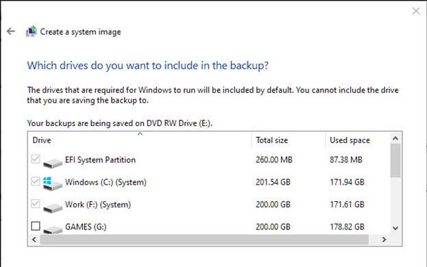 create system image windows 10 backup