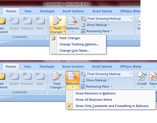 Default change tracking and revision control in Word