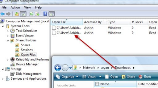 Find who is accessing the shared folder in real-time in Windows