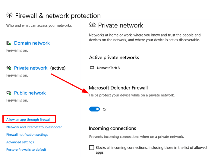 open Windows defender firewall