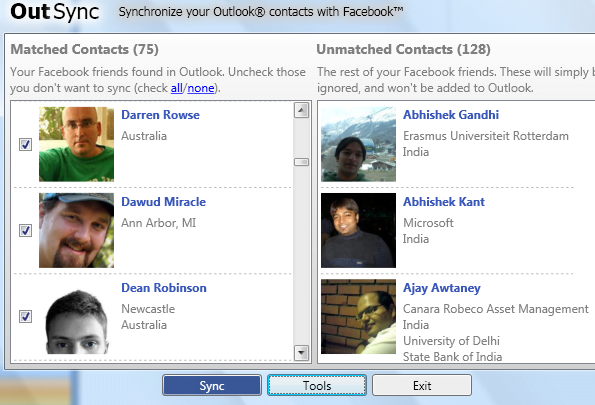 Syncing Outlook and Facebook Images in contacts