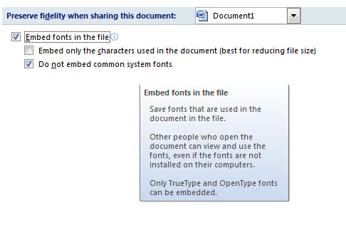Preserving Font Types in Microsoft Office Word 2007