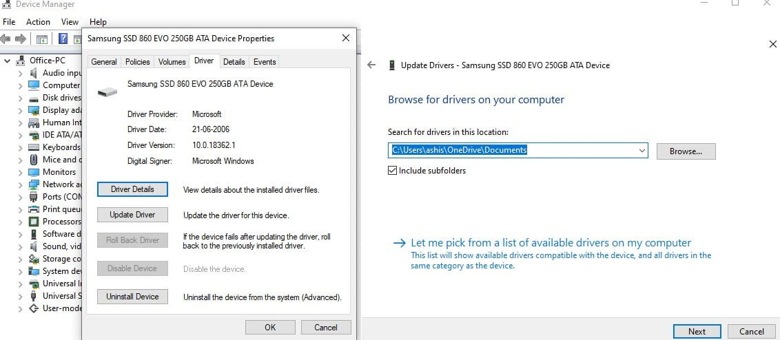 restore Install driver using device manager