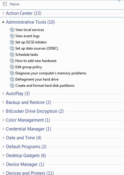 Windows 7 god mode List